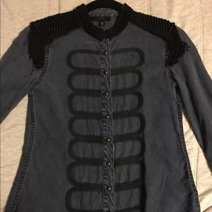 Joe's Jeans Denim Button Shirt Black Fringe Cool!